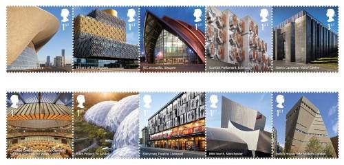 Dieci francobolli celebrano l'architettura contemporanea in Inghilterra