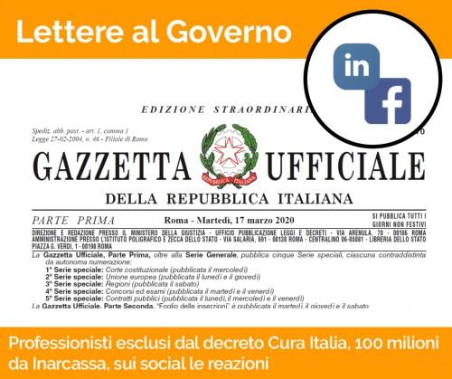 Professionisti esclusi dal decreto Cura Italia, Inarcassa mette 100 milioni, sui social le reazioni