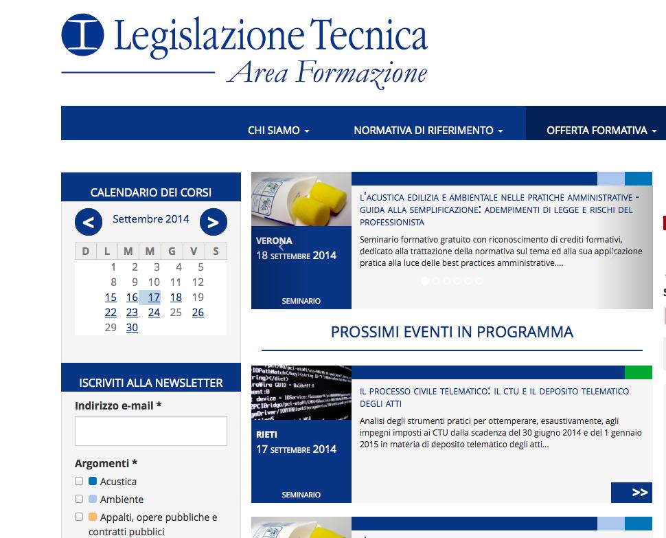 Online il portale di Legislazione Tecnica dedicato alla formazione professionale