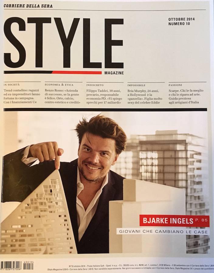 Style: copertina su BIG, pubblicità con sfondo Koolhaas e focus su committenti