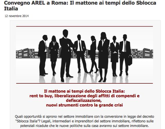 Il mattone ai tempi dello Sblocca Italia. Criticità e opportunità (secondo Arel)