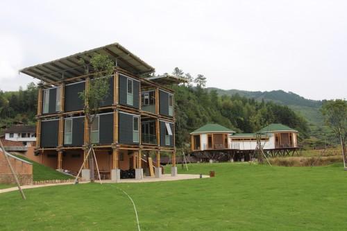 In Cina una casa in bambù efficiente e industrializzata, con kit di montaggio